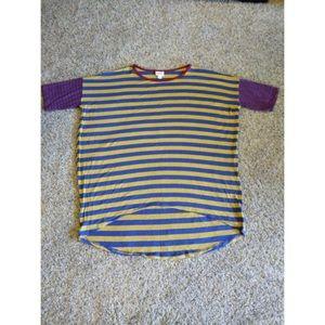LulaRoe Irma Top Blue/Yellow Striped